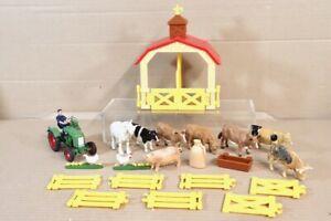 FARM ANIMALS SET BARN SIKU FENDT TRACTOR HORSE COW CHICKEN PIG WATER TROUGH