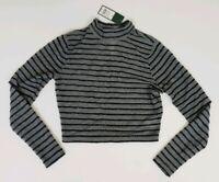 Wild Fable Women's Top Long Sleeve Gray Crop Shirt Semi Sheer Sizes XS S M L XL