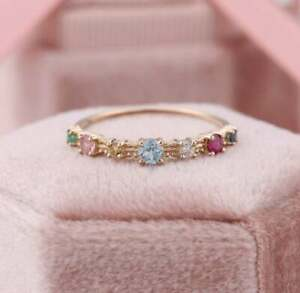 Yellow Gold Plated Multi Color Gemstone Wedding Band, Half Eternity, Stackable