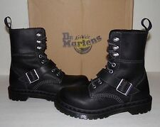 New DR MARTENS Hilda Women's Black Leather Biker Strap Boots US 5/EU 36/UK 3 NIB