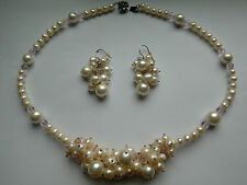 White Pearl & Pink Crystal Necklace & Earrings Set, 19.5 & 2 in long