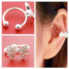 Boucles D'oreilles Clips Cartilage Noeud Papillon Cristal Strass Sans Perçage Nf