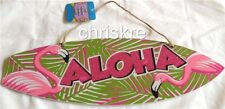Wood Beach Sign Luau Surf Board Aloha Flamingo Tiki Bar Door Plaque Decoration