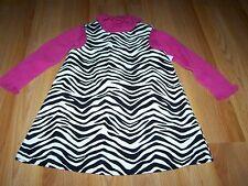 Size 3T Gymboree Wild One Black White Zebra Print Jumper Dress & Pink Turtleneck