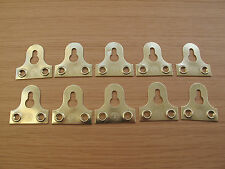 10 x 38mm picture mirror keyhole slotted fixing plates bracket brass gold finish