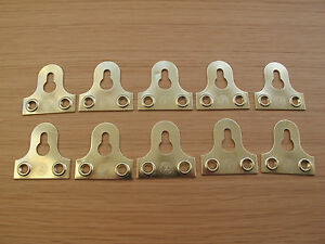 38 MM PICTURE MIRROR FIXING BRACKET KEYHOLE SLOTTED BRASS GOLD FINISH 10 Pack