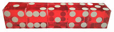 CASINO DICE - NEW STICK OF 5 UNUSED RED PRECISION CUT 19mm DICE - FREE SHIPPING*