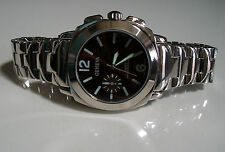 Designer Style Mens big  Silver finish bracelet fashion burgundy dial watch