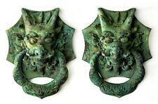 Pair of 1700s Antique Large Asian Chinese Golden Dragon Bronze Doorknobs