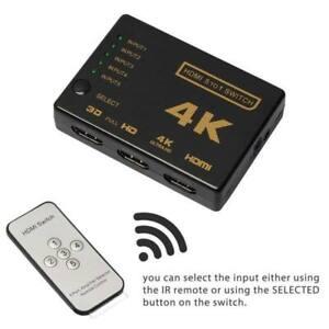New 5 Port 2K/4K HDMI Switch Switcher Splitter Full HD HDTV DVD PS3 +IR Remote