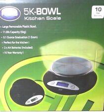 AWS 5K- Bowl Digital Kitchen Food Scale 11 Pound x 0.1oz Black 5000g