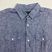 Banana Republic Button Up Shirt Men's XL Short Sleeve Blue Chambray Cotton Blend
