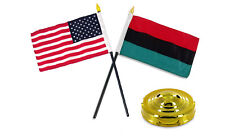 "Africa African w/ USA American Flag 4""x6"" Desk Set Table Stick Gold Base"