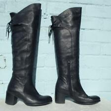 Bronx Leather Boots Size Uk 3 Eur 36 Womens Ladies Sexy Pull on Black Boots