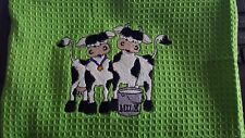 TEA TOWEL personalised embroidered COWS add a name for FREE cute cows milk