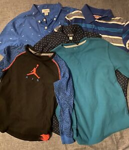 Lot of 5 Dress Shirts Boy's Size 10-12 Wrangler, Old Navy, Place, Faded Glory