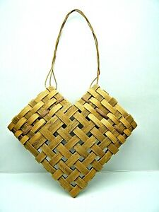 Collectible Vintage Hand Woven Hanging Open Heart Basket Pockets