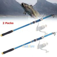 2x Carbon Telescopic Fishing Rod Travel Spinning Rod Pole 2.1m Profession​al USA