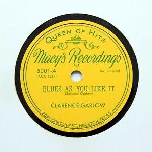 """CLARENCE GARLOW """"Blues As You Like It"""" 1950 (E+) MACYS RECORDINGS 5001 [78 RPM]"""