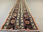 Distressed Turkish Narrow Runner 368x50 cm wool Vintage Tribal Rug Pink Black