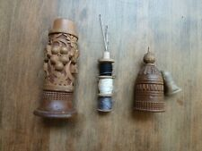 Antique Swiss Black Forest Wood Carving Needle Thimble Thread Case Holder
