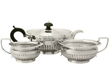 Sterling Silver Three Piece Tea Set - Queen Anne Style - Antique Victorian 992g