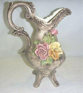 Vintage 60s-70s Capodimonte Large Jug / Vase w Florals Gorgeous Display Piece GC