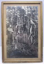"Antique Hunter and Gun With Dead Deer & Bird 16.5"" Framed Photo"