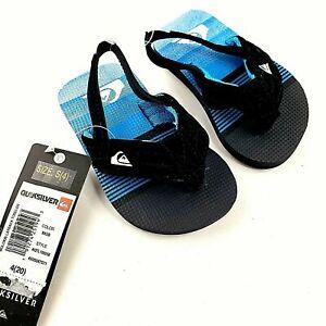 Quiksilver Boy's Molokai Layback Toddler Flip Flops Black Blue Size 4 Small NEW