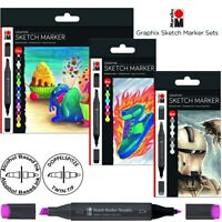 MARABU Alcohol Ink Japanese Twin Tip Markers Brush Pens Set GLASS WOOD CLAY YUPO