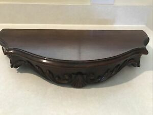 """Half Round Hickory MA Wall Mount Shelf! Carved Wood Ornate 20.5x8.5x4.5"""" approx."""