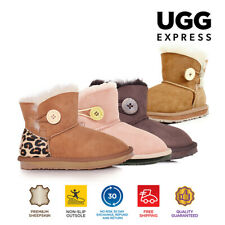 Kids UGG Boots-Child Mini Button, Australian Sheepskin, Water Resistant
