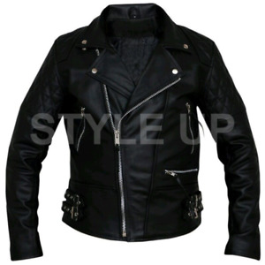 Men's Brando Motorcycle Casual Biker Diamond Quilted Style Black Leather Jacket