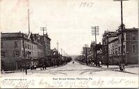 Postcard East Broad Street in Hazleton, Pennsylvania~136055