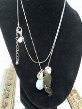 AERO Multi Bauble Bead Necklace Feather Hang Tag Shapes FUN
