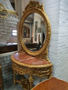 CONSOLE - PALACE GOLD CONSOLE WITH MARBLE TOP AND MIRROR IN WOODEN FRAME #MB75