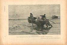 L'Appareillage Pêcheurs Barque Plage de Berk Charles Roussel GRAVURE PRINT 1914