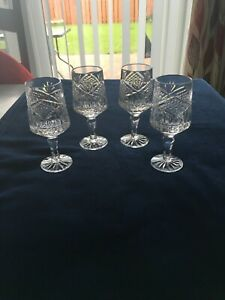 Four Tyrone Crystal Sherry Glasses In Antrim Pattern