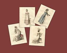 4 Print Regency Collection Jane Austen Style Fashion Ackermann 1818