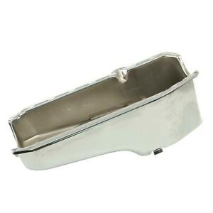 Summit Racing G3501 Oil Pan Steel Chrome Plated 4 qt. Chevy Small Block Each