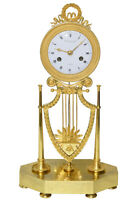 PENDULE LYRE. Kaminuhr Empire clock bronze horloge antique cartel uhren