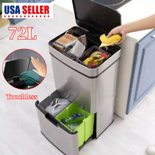 72L Recycling Trash Bin Double Garbage Sorter Touchless Can 3 Compartments