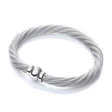 J-Jaz Ladies Sterling silver multiple strand Twist Mesh Bracelet