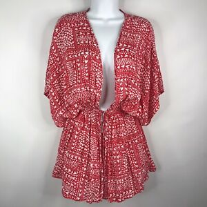 Victorias Secret Red White Hearts Short Robe Beach Pool Swimsuit Cover Up Sz OS