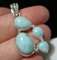 Beautiful STERLING SILVER 13.63cts Real Larimar Gem Stone Large Necklace PENDANT
