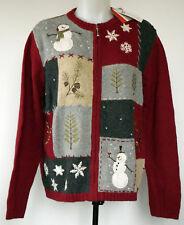NWT Croft & Barrow Dark Red Winter Scene Snowman Cardigan Zip-Front Sweater M