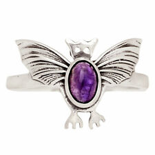 Bat - Amethyst - African 925 Sterling Silver Ring Jewelry s.8.5 Br326