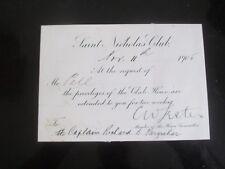 1905 SAINT NICHOLAS CLUB  NEW YORK HMS ESSEX CAPTAIN FARQUHAR PRIVILEGES CARD
