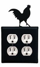 Wrought Iron Rooster Double Electrical Outlet Covers New Black Kitchen Decor