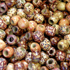 25 16x17mm Barrel Round Ethnic Patterned Wood Wooden Beads Large Hole Mixed